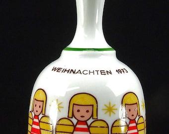 Vintage 1973 First Edition Weihnachten Bavaria Germany Porcelain Christmas Angel Bell Jahre Bareuther Walbassen Red Gold
