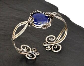 Blue Lapis Bracelet, Silver Bracelet, Lapis Lazuli Bracelet, Silver Cuff Bracelet, Wire Wrap Bracelet, Gemstone Bracelet, Cuff Bangle