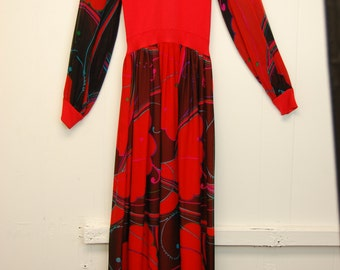 1970s Red Formal Dress with Floral Sheer Sleeves