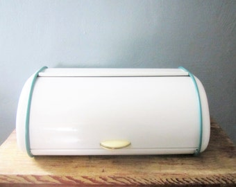Vintage Retro Enamel Roll Top Bread Box