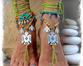 THUNDERBIRD BAREFOOT Sandals Toe Ankle Bracelet Native American Crochet SANDALS Cowgirl wedding Green Ankle wrap sandal Jewelry GPyoga