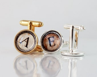 Personalized Mens Cufflinks, Initial Cufflinks, Monogram Cufflinks, mens cufflinks, Vintage Typewriter Grungy Keys Letters,Custom Cufflinks