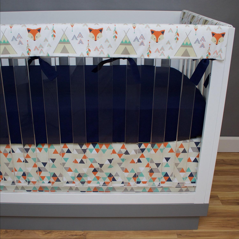 Fox Baby Bedding Teepee Crib Bedding Orange Navy Baby Rail