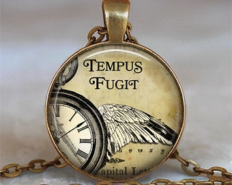Tempus Fugit necklace, Tempus Fugit pendant steampunk jewelry steampunk necklace quote jewelry key chain key fob key ring