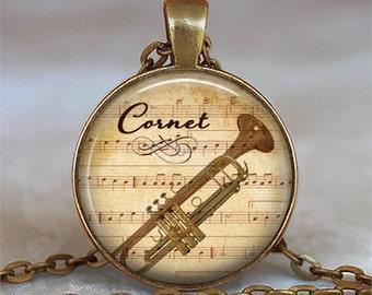 Cornet & Music necklace, Cornet necklace Cornet pendant musical instrument, music jewelry, music teacher gift key chain