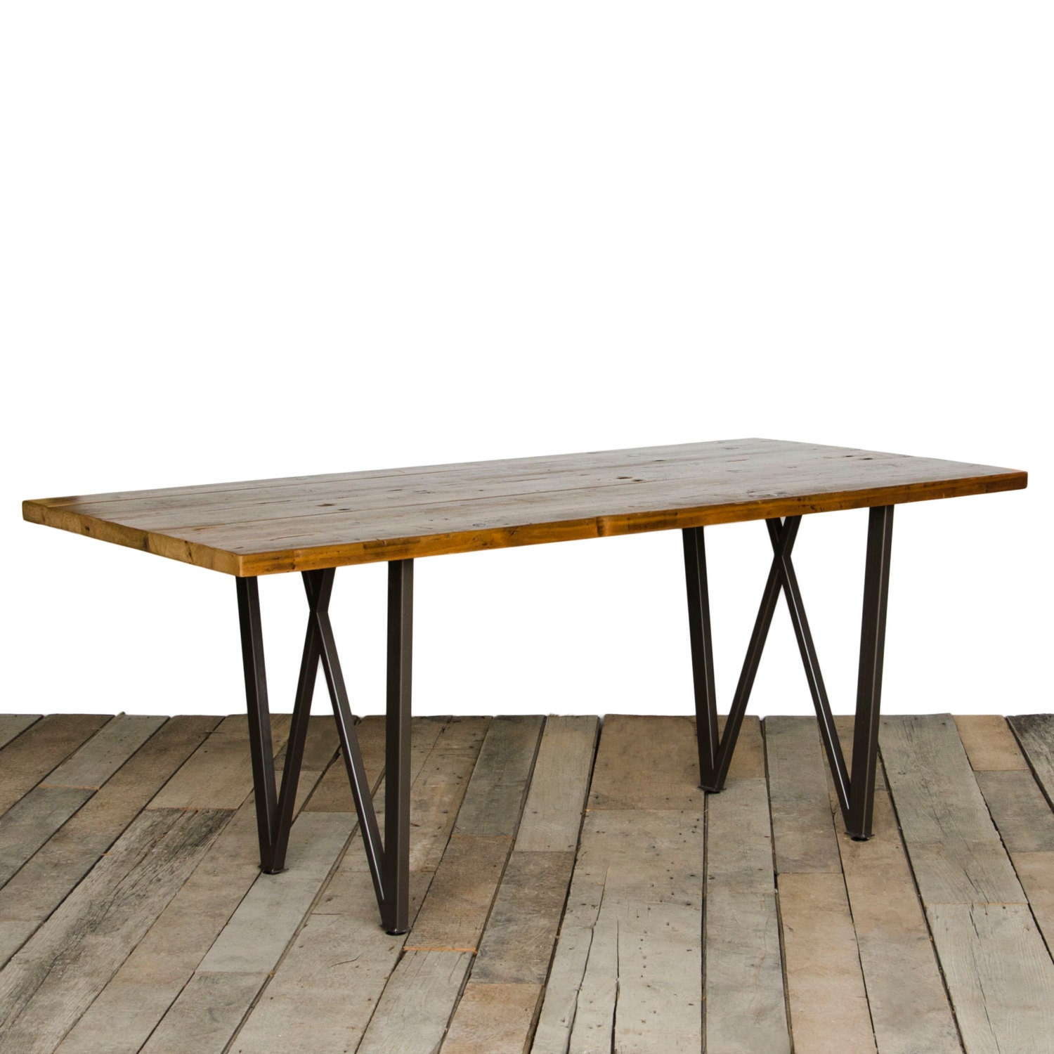 Dining Table With Reclaimed Wood Top And Our Steel