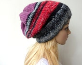 Black and red Slouchy Beanie Hat Multi Colour Winter Hat