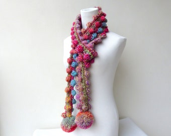 Pink Scarf Pompom Scarf Crochet Pink Scarf Multicolor Unique Scarf colorful Winter Scarf