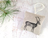 Woodland Deer Sachet. Natural Linen. Organic Lavender Buds. Balsam Fir Needles. Deer Ornament. Hostess Gift. Stocking Stuffer. READY TO SHIP