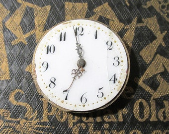 Small Pocket Watch VINTAGE Watch Parts Porcelain FACE Jewels Guts Mechanical Movements Plates Gears Watch Repair Jewelry Supplies (L167)