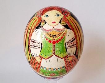 Ostrich shell Ukrainian egg hand painted birthday gift conversation art for inlaw Ei Kunst by Katya Trischuk