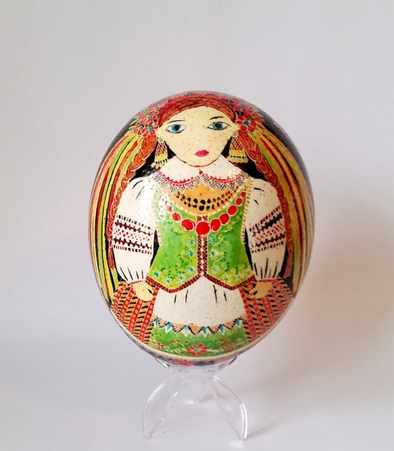 Mothers day from Daughter Ostrich shell Ukrainian  egg hand painted birthday gift ~ conversation art for inlaw ~ Ei Kunst