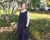 Long Linen Apron Maxi Dress Sweet Prairie Darkest Slate Grey Linen Lagenlook Washed Linen Large Pockets Ready To Ship One Size