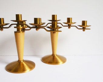 Two vintage Candelabra candlestick Holders 5 candle holders Brass church salvage Prayer Altar Shrine Danish Modern