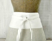 Black Natural Ticking Women's Apron With Pockets - Vendor - Teacher - Waitress