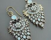 Opal Earrings - Antique Gold Earrings - Rhinestone Earrings - Upcycle Earrings - Bridal Earrings - Vintage Wedding Jewelry - Blue Earrings