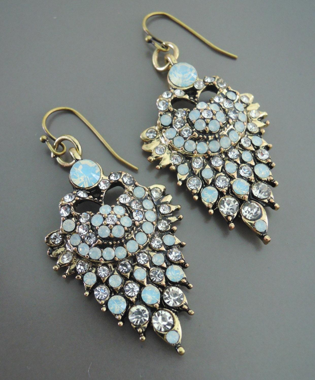 opal earrings blue earrings gold earrings rhinestone. Black Bedroom Furniture Sets. Home Design Ideas