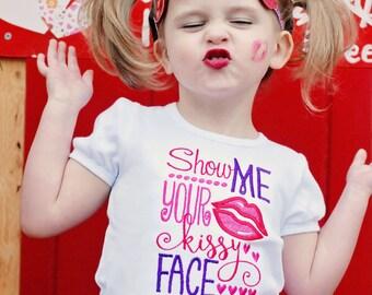 Girl Shirt, Show Me Your Kissy Face, Glitter Lips Headband, Birthday Shirt, Kiss Tieback, Hot Pink, Red, Purple