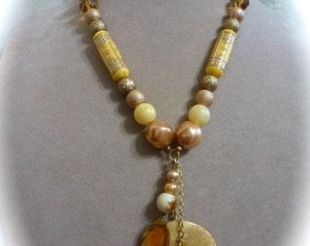 OOAK Boho Chic Yellow Stone Pendant Necklace Golden Yellow Vintage Repurposed Beads
