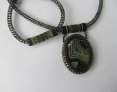 Green and Black Stone Pendant with Beaded Bezel and Viking Knit Chain with Matching Bracelet