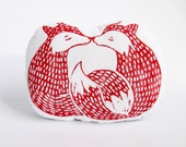 Smooching Cuddle Foxes Pillow. Hand Woodblock Printed. Made to Order.