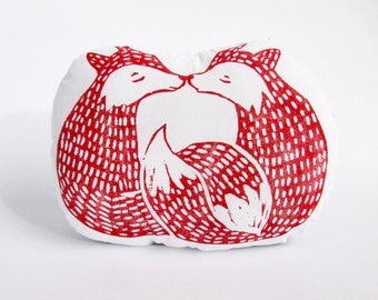 Foxes Shaped Animal Pillow. Kissing Cuddle Foxes. Couple Gift. Hand Woodblock Printed. Made to Order.