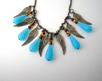 Feather Bib Necklace, Boho Feather Necklace, Turquoise Blue Beaded Necklace, Metal Feather Jewelry, Tribal Fringe Necklace, Bronze