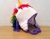 Unicorn Hat, Crochet Rainbow Hat, Unicorn Beanie Hat for Girls, Toddler to Womens Animal Hat