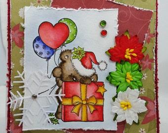 Watercolored Christmas Bear, Shabby Chic - Blank NoteCard, Greetings Card, Handmade Card