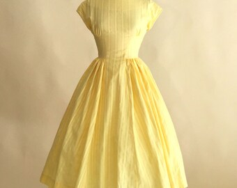Vintage 1950s Dress...Sunny Yellow Cotton Day Dress