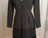 "Vintage 1980s DBY Dress, ""Faux Suit"" Grey Black and White, Size 5/6"