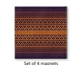 Tribal fridge magnets, kitchen magnet, refrigerator magnets, orange and purple magnet set , set of 4 decorative magnets, kitchen decor