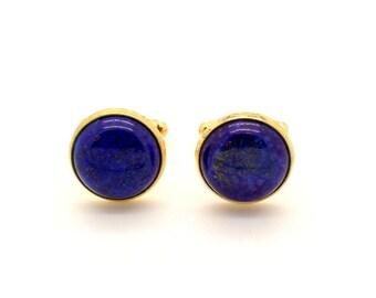 Lapis Lazuli Cufflinks – Dark Blue Cufflinks – Blue Cufflinks 16mm Round