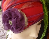 Womens Strawberry Red Purple Chemo Hat slouchy Hat Headwear Soft  Hat with PurpleFlower