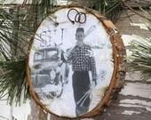 Ski Christmas Ornament - Smoking on the Slopes - Wood Slice Ornament - Vintage Ski - Guy Gift Tag - Old Truck - Old Ski - Skier