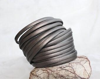 Leather Wrap Bracelet, Multi-Strand Leather Bangle, Metallic Gray Taupe Leather Cuff-Bracelet