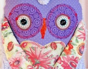 Stuffed Animial Owl Friend - Owl Pillow Stuffed Owl with Purple Chenille - No.63