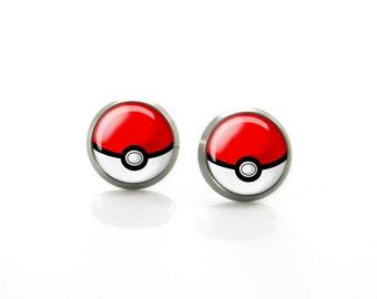 Pokemon Pokeball geek Titanium Post Earrings | Hypoallergenic Sensitive Stud | Anime game Titanium Stud Earrings | Funny Unisex earrings