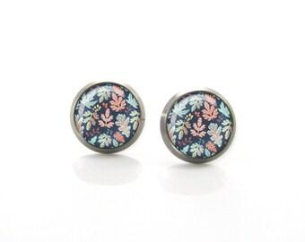 Colorful leaf Titanium Post Earrings | Hypoallergenic Sensitive Stud | Titanium Laeves Stud Earrings | Black stud earrings
