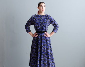 50s Floral Dress - Vintage 1950s Corduroy Dress - Royale Floral Dress