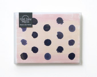 Notecard Set, Note Cards, Blank Note Set, Blank Cards - Polka Dot Watercolor Design