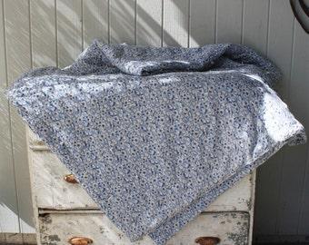 Sweet Blue Floral Vintage Hand Tied Quilt