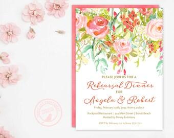 Rehearsal Dinner | Flower Invitation | Bridal Invitation | Rehearsal Dinner Invitation 4506