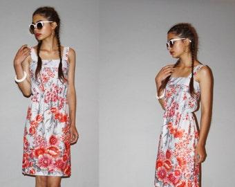 Vintage 1970s Gray Floral Cherry Blossom Pink Flowers Summer Sun Dress  - Vintage Sun Dresses  - Floral Dresses - WD0885