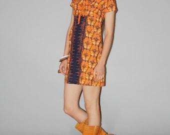 1960s Vintage Orange Graphic Butterfly Vagina Boho Hippie Festival  Short Mini Dress - 60s Mod Dress -  1960s Tribal Dress -   WD0838