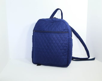 Quilted Backpack purse in Navy with many pockets