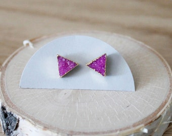 Fuchsia Triangle Druzy Stud Earrings/ Bright Fuchsia Pink Magenta Natural Stone/ Quartz Druzy Stud Earrings/ Gemstone  Triangles (GSM12-FS)