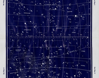 1950 Large Vintage STARS MAP print, Constellations, vintage astronomy