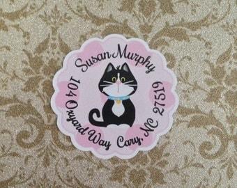 Tuxedo Kitty Round Address Labels/Sticker