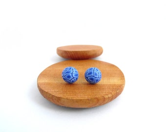 Small Blue Stud Earrings, Dome Shape, Hypo Allergenic, Fimo Professional Polymer Clay & Stainless Steel, Supremily Jewellery
